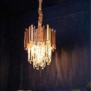 Lustre Cristal Midas Acabamento Dourado 300MM 3 X E14 Blumenau