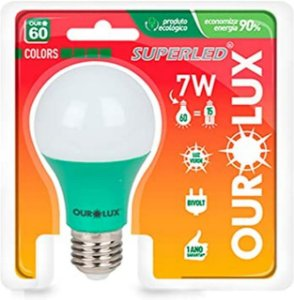 LAMPADA LED 60 COLORS 7W BIV VERDE OUROLUX