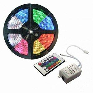 FITA LED RGB 5M 5050 IP65 12V C/ CONTROLE E DRIVE