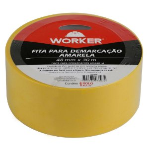 FITA P DEMARCAÇÃO ADESIVA 48MMX30M AMARELA WORKER