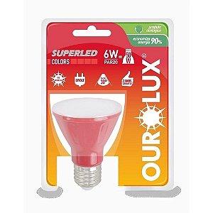LAMPADA LED PAR20 6W BIV 30 VERMELHO (05477) OUROLUX