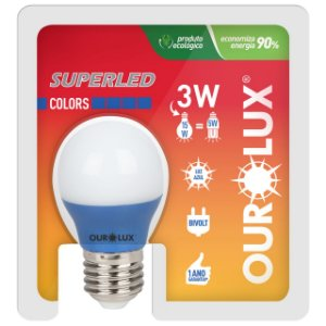 LAMPADA SUPERLED S30 COLORS 3W BIVOLT AZUL OUROLUZ