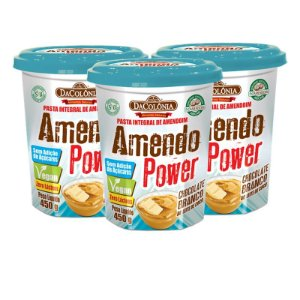 Kit 03 unidades de Amendo Power Chocolate Branco ao Leite de Coco 450g