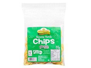 Chips de Banana Verde Orgânica 50g Alimentar