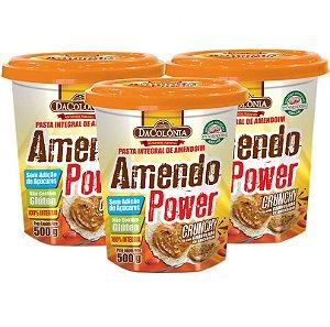 Kit 03 un de Pasta Integral de Amendoim Crunchy Amendo Power 500g