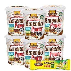 COMBO COMPROU/GANHOU (Kit 06 unidades de Amendo Power com Avelã e Cacau 450g + 1 un GRÁTIS Banana Fit Zero 22g)