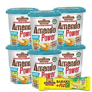 COMBO COMPROU/GANHOU (Kit 06 unidades de Amendo Power Chocolate Branco 450g + 1 un Grátis Banana Fit Zero 22g)
