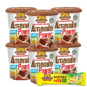 COMBO COMPROU/GANHOU (kit 06 unidades de Amendo Power com Cacau 500g + 1 un Grátis Banana Fit Zero 22g)