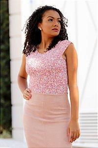 Body de Manguinha Costas Nua Floral Rosa - Tam. Único