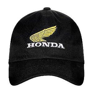 Bone Moto Honda Bordado Preto Linha Vintage