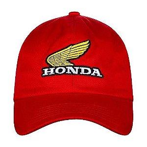 Bone Moto Honda Bordado Vermelho Linha Vintage