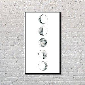 Quadro Decorativo Fases da Lua Branco