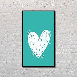 Quadro Decorativo Coração Turquesa