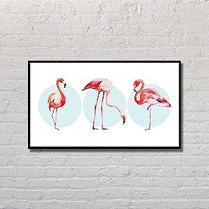 Quadro Decorativo Flamingos Acrobáticos