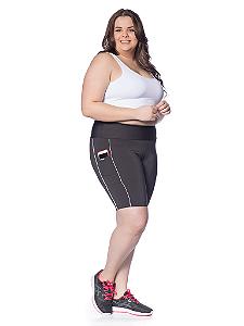 Bermuda Janfer Sport Jade Plus Size com bolso na lateral Filete Branco