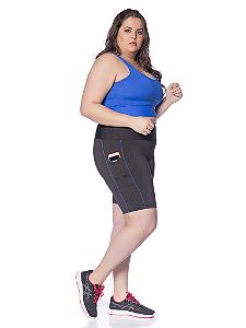 Bermuda Janfer Sport Jade Plus Size com bolso na lateral Filete Royal