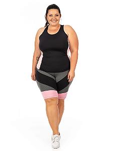 Bermuda Plus Size Janfer Sport Ciclista Liliti com Bolso Embutido Rosa Bebê