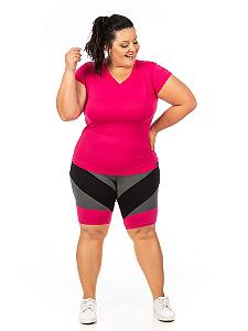 Bermuda Plus Size Janfer Sport Ciclista Liliti com Bolso Embutido Rosa