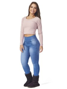 Blusa Cropped Térmica Carolina Rosa