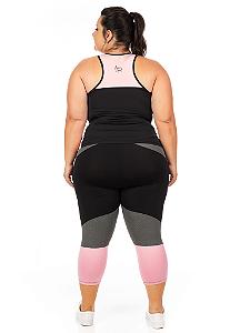 Corsário Plus Size Janfer Sport Liliti com Bolso Embutido Rosa Bebê