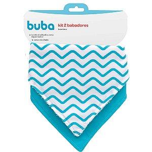 Kit Babador Bandana Estampado Azul Buba