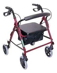Andador Alumínio dobrável de 4 Rodas Assento e Cesta - Flex - 100 kgs - Dilepé