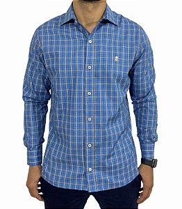 Camisa Manga Longa Xadrez Azul/Preto/Branco/Amarelo