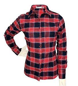 Camisa Feminina Flanela Xadrez Vermelha/Preta/Azul