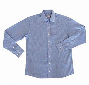 Camisa Listrada Branco/Azul Claro