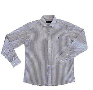Camisa Listrada Branco/Azul Marinho