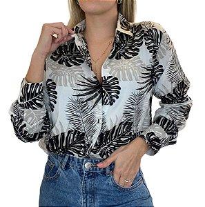 Camisa Feminina Viscose Estampa Folhagens Branca, Preto e Bege