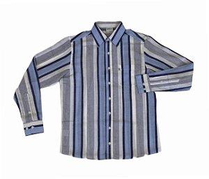 Camisa Listrada de Azul/Branco/Cinza