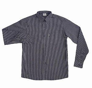Camisa Listrada Chumbo/Branco
