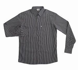 Camisa Listrada Cinza/Branco