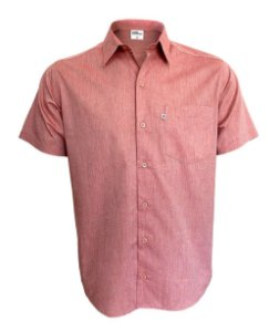 Camisa Manga Curta Fil a Fil Vermelha