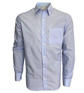 Camisa Branca Listra Azul Claro
