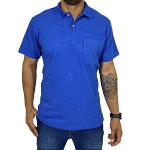 Camiseta Polo Com Bolso Mescla Azul Bic