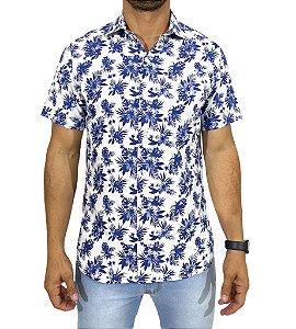 Camisa Manga Curta Floral Azul