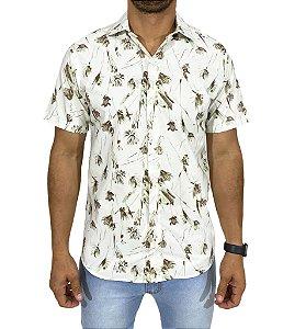 Camisa Manga Curta Floral Verde