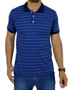 Camiseta Polo Azul Com Listra Marinho