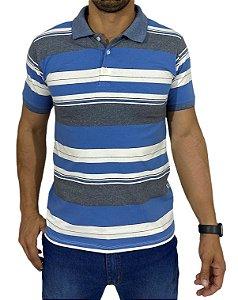 Camiseta Polo Listrada de Branco, Azul e Cinza