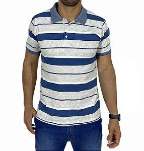 Camiseta Polo Listrada de Azul. Branco e Mescla