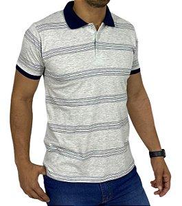 Camiseta Polo Mescla Com Listras Marinho