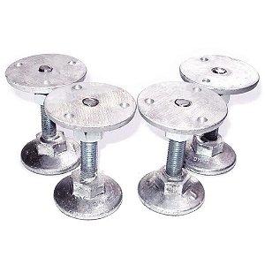Pé Nivelador para Mesa de Sinuca Bilhar Pebolim em Alumínio Modelo J com 4 Peças