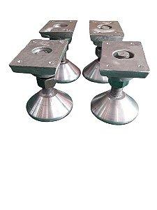 Pé Nivelador Reforçado para Mesa de Sinuca Bilhar Pebolim em Alumínio com 4 Peças