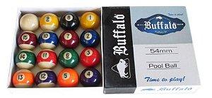 Bolas Numeradas 54mm Faixadas Buffalo Para Sinuca Bilhar