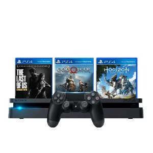 Console PS4 Slim 1TB Preto + The Last of Us + God of War + Horizon Zero Dawn