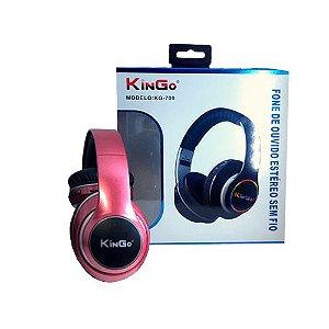 Fone de Ouvido Kingo KG-700 Bluetooth Rosa