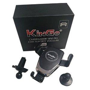 Carregador sem Fio com Suporte Veicular KG-66 Preto Kingo