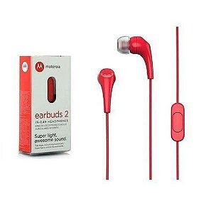 Fone de Ouvido Motorola Earbuds 2 Vermelho